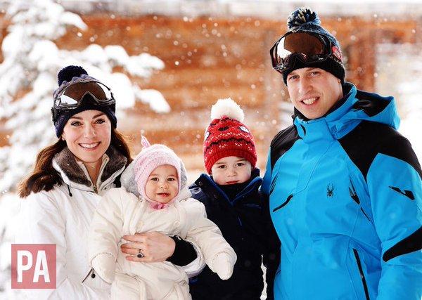 Imagini inedite - Kate și William în vacanță la schi cu cei doi copii