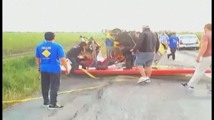 Imagini de la accidentul aviatic din județul Brăila