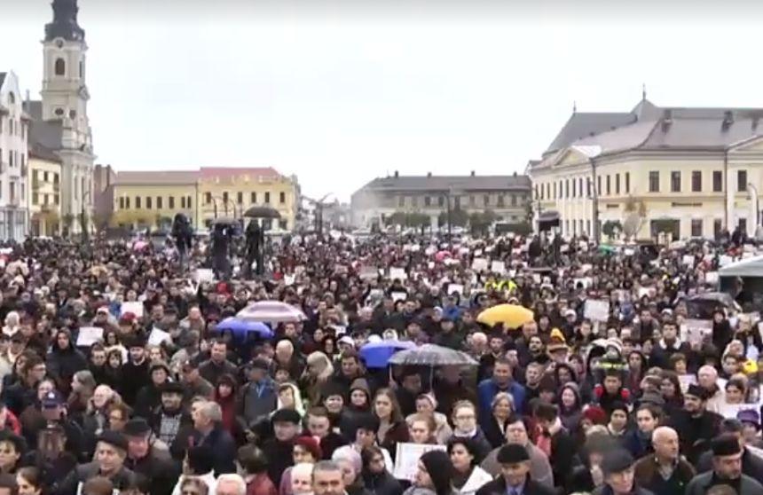 Mii de români au ieșit în stradă pentru familia tradițională