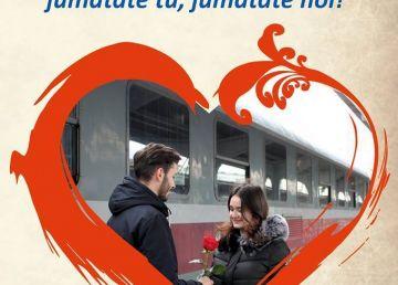 """Oferta CFR de Valentine's Day şi Dragobe: """"Plimbaţi-vă în doi! Jumătate tu, jumătate noi"""""""