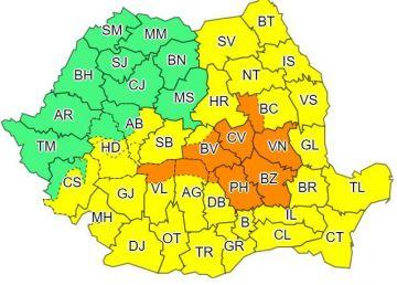România, sub coduri de ploi abundente toată săptămâna