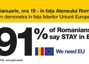 """10 ianuarie: Miting - """"Vrem Europa, nu dictatură"""" - la Ateneul Român"""